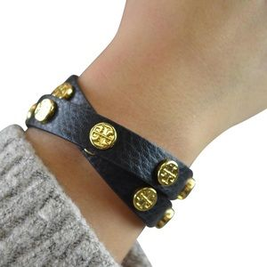 Tory Burch Double Wrap Logo Bracelet in Navy
